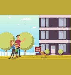 happy family buying new house flat concept vector image