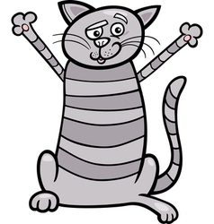 happy tabby cat cartoon vector image vector image