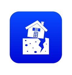 house after an earthquake icon digital blue vector image