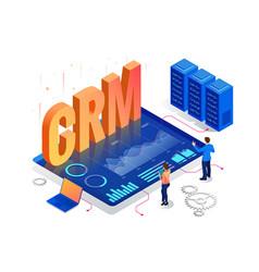 Isometric crm web banner customer relationship vector