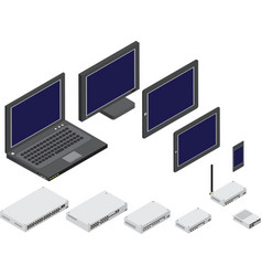 isometric network devices vector image