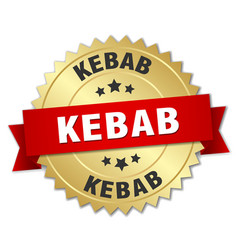 Kebab 3d gold badge with red ribbon vector