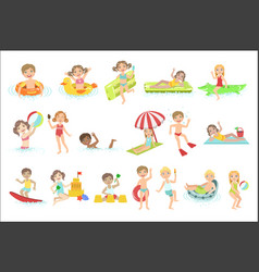 Kids playing in the water set vector
