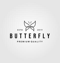line art butterfly vintage logo design vector image