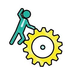 Man and gear wheel vector