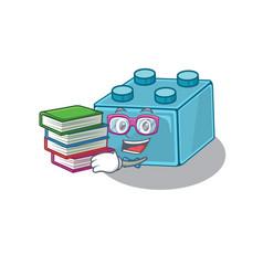 Mascot cartoon lego brick toys studying vector