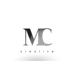 mc logo design with multiple lines and black and vector image