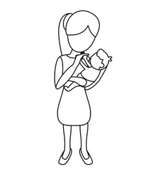 Mom carrying little baby outline vector