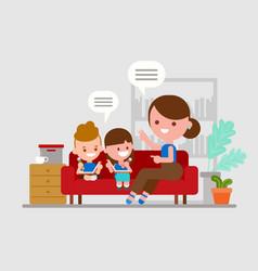 Mother teaching her children kids doing homework vector