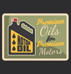 motor oil grunge retro banner car service design vector image