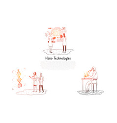 nano technologies - scientists making research vector image