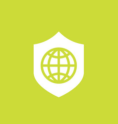 Network security icon with shield and globe vector