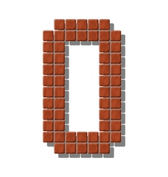 Number 0 made from realistic stone tiles vector