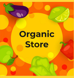 organic store with vegetables and fruits vector image