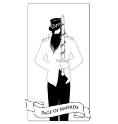 outlines paje or knave of swords with top hat vector image