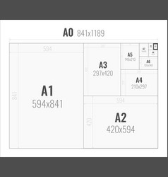 paper size of format series a from a0 to a10 vector image