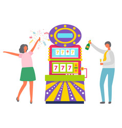 people celebrating slot machine in casino vector image
