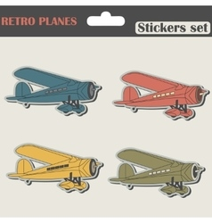Planes Stickers Set vector image