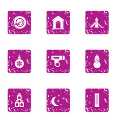 Play all day icons set grunge style vector