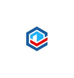 polygon line technology company logo vector image