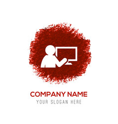 Presentation on business growth icon - red vector