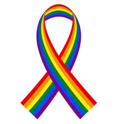 rainbow lgbt ribbon symbol and flag vector image