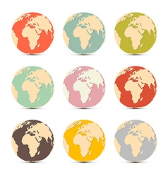 Retro Paper Earth World Globe Map Icons vector image vector image
