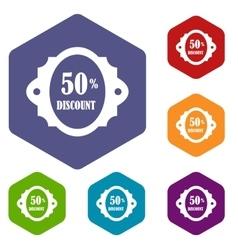 Sale label 50 percent off discount icons set vector