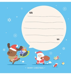 Santa and reindeer character - Merry Christmas gre vector image