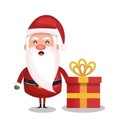 santa claus and box gift merry christmas design vector image