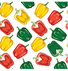 seamless pattern with bell pepper vector image