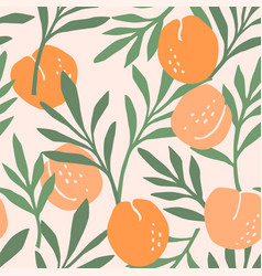 seamless pattern with peaches trendy hand vector image