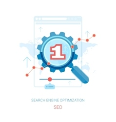 SEO optimization and search marketing flat icons vector