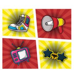 set accessories pop art style vector image