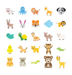 Set animals flat icons vector