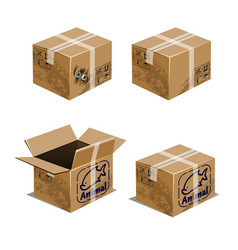 set of carton boxes for transporting animals vector image