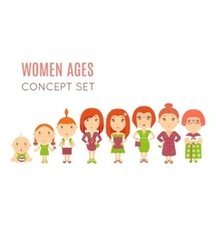 Set of cute pretty women age flat icons vector