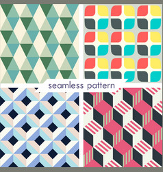 Set of four seamless geometrical patterns vector