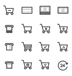 Set of Outline stroke Shopping icons vector