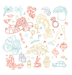 set of outlined valentines icons signs and symbols vector image