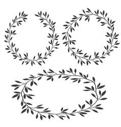 Set of silhouettes vintage floral frames laurel vector