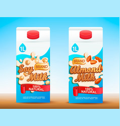 set of two milk tetra packs with different tastes vector image