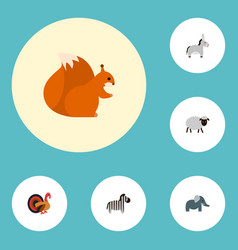 Set of zoo icons flat style symbols with turkey vector