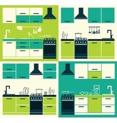 Set ofmodern kitchen interior vector