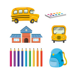 Set school with bus and education utensils vector
