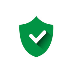 shield with check mark green icon protection and vector image