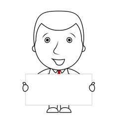 smiling businessman line cartoon holding a blank s vector image