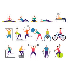 sport activities active people making fitness vector image