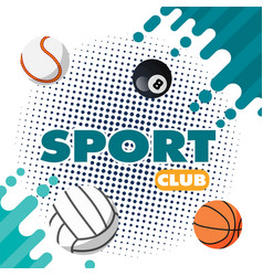 Sport club balls green splash background im vector