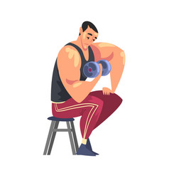 sportive muscular man exercising with dumbbell vector image